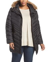 Andrew Marc | Black 'renee' Chevron Quilted Coat With Faux Fur Trim Hood | Lyst