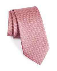 Ferragamo | Pink Geometric Silk Tie for Men | Lyst