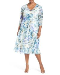 Komarov | Blue Print Three-quarter Sleeve Chiffon A-line Dress | Lyst