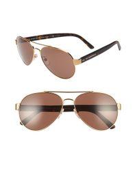 Burberry | Metallic 59mm Aviator Sunglasses | Lyst