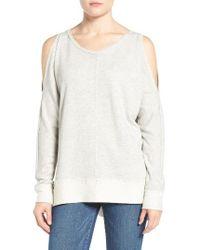Caslon | Gray Caslon Cold Shoulder Sweatshirt | Lyst