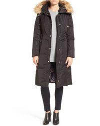 Eliza J | Black Faux Fur Trim Hooded Long Down Coat | Lyst