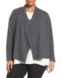 Eileen Fisher - Gray Felted Merino Sweater Jacket - Lyst