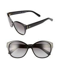 Kate Spade | Black 'kiersten' 56mm Cat Eye Sunglasses | Lyst