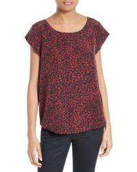 Joie | Black Rancher N Print Silk Cap Sleeve Top | Lyst