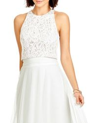 Dessy Collection   White Lace Halter Style Crop Top   Lyst
