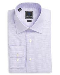 David Donahue   Purple Trim Fit Houndstooth Dress Shirt for Men   Lyst