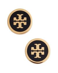 Tory Burch | Metallic Logo Stud Earrings | Lyst