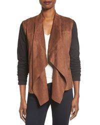 Foxcroft | Brown Open Front Faux Suede Cardigan | Lyst