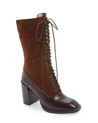 Jeffrey Campbell | Brown 'massari' Lace-up Boot | Lyst