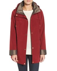 Gallery | Red Silk Look Hooded Raincoat | Lyst