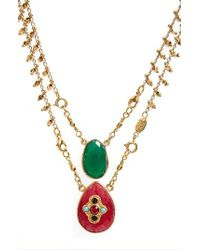 Gas Bijoux | Metallic Scapulaire Convertible Semiprecious Stone Necklace | Lyst