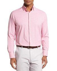 Peter Millar | Pink Regular Fit Check Sport Shirt for Men | Lyst