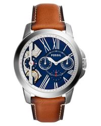 Fossil | Blue 'grant' Chronograph Leather Strap Watch | Lyst
