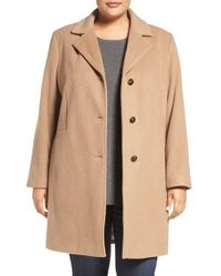 Calvin Klein | Natural Wool Blend Reefer Coat | Lyst