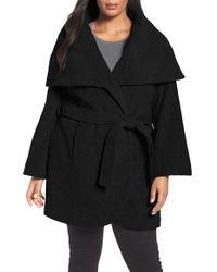 Tahari | Black Marla Cutaway Wrap Coat With Oversize Collar | Lyst