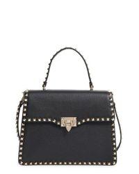 Valentino | Black Rockstud Leather Satchel | Lyst
