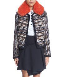 Carven Black Faux Fur Collar Tweed Jacket