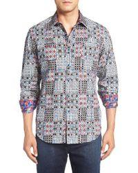 Robert Graham | Blue 'volto' Regular Fit Sport Shirt for Men | Lyst