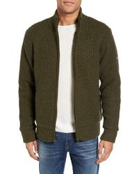 Schott Nyc | Green Zip Front Faux Sherpa Lined Sweater Jacket for Men | Lyst