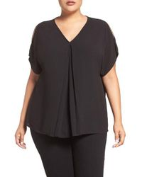 MICHAEL Michael Kors | Black Cold Shoulder V-neck Top | Lyst