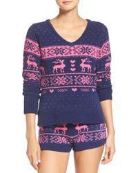 Betsey Johnson   Blue Plush Sweater   Lyst