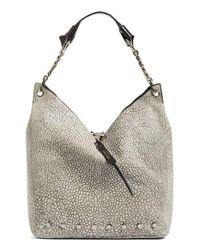 Jimmy Choo | Gray Raven Studded Washed Leather Shoulder Bag | Lyst