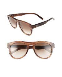 Ferragamo | 54mm Sunglasses - Striped Brown | Lyst