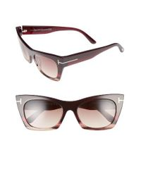 Tom Ford | Natural Kasia 55mm Cat Eye Sunglasses - Melange Shiny Burgundy/ Beige | Lyst