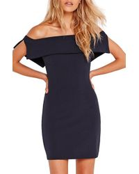 Missguided - Blue Foldover Off The Shoulder Body-con Minidress - Lyst
