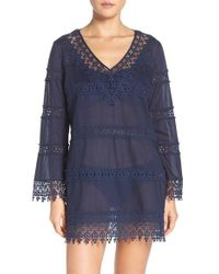 Tory Burch - Blue Crochet Lace Cover-up Dress - Lyst