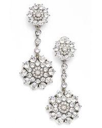 Oscar de la Renta | Metallic 'classic Jeweled' Swarovski Crystal Drop Earrings | Lyst