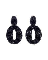 Oscar de la Renta | Oscar O Crystal Clip Earrings Black | Lyst