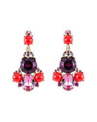 Oscar de la Renta   Red Crystal Chandelier Earrings   Lyst