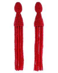 Oscar de la Renta | Red Long Beaded Tassel Drop Earrings | Lyst