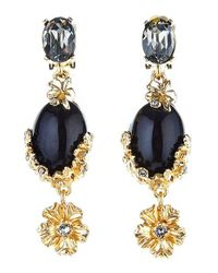 Oscar de la Renta | Blue 'crystal Bouquet' Jewel Drop Earrings | Lyst