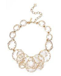 Oscar de la Renta | Metallic 'circular Crystal' Frontal Necklace | Lyst