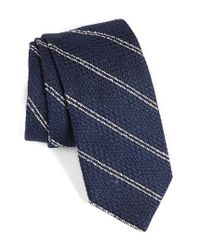 Strong Suit | Blue Stripe Silk & Cotton Tie for Men | Lyst