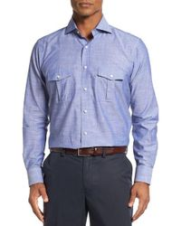 Peter Millar | Blue Discovery Regular Fit Chambray Sport Shirt for Men | Lyst