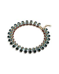J.Crew - Blue Stacked Floral Crystal Necklace - Lyst
