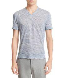 John Varvatos | Blue Melange Stripe Burnout Linen T-shirt for Men | Lyst