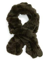 Toria Rose - Green Genuine Rabbit Fur Scarf - Lyst