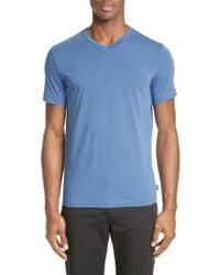 Armani   Blue V-neck T-shirt for Men   Lyst
