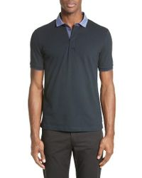 Armani | Blue Stretch Cotton Polo for Men | Lyst