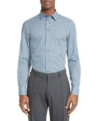 Armani | Blue Micro Texture Sport Shirt for Men | Lyst