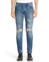 Balmain - Blue Distressed Moto Jeans for Men - Lyst