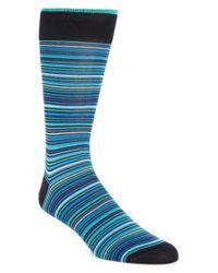 Bugatchi - Blue Multi Stripe Socks for Men - Lyst