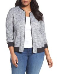 Sejour | Gray Sweater Knit Bomber Jacket | Lyst
