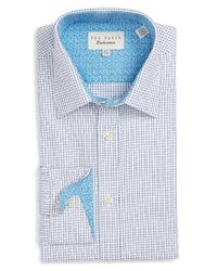 Ted Baker | Blue Trim Fit Micro Squares Dress Shirt for Men | Lyst