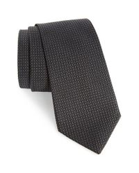 Calibrate | Black Grid Woven Silk Tie for Men | Lyst